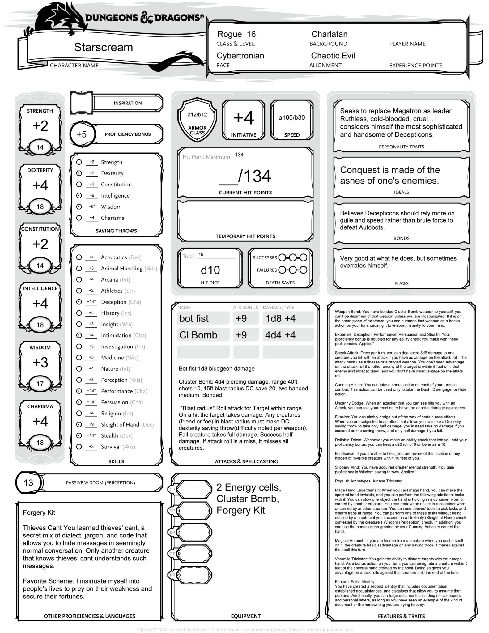 Dungeons & Dragons 5e G1 Transformers Rules homebrew