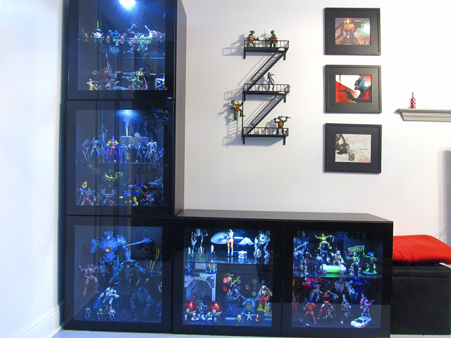 heres an older picture of my besta units i really like the modern look they give to my collection room besta lighting