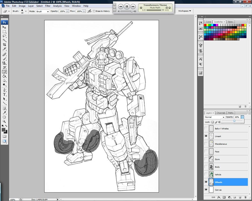 Color lineart in photoshop - Layer Opacity Jpg