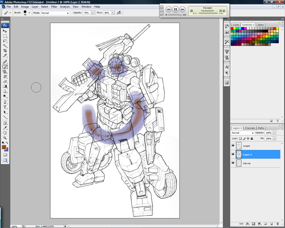 Color lineart in photoshop - Multiply Effect Jpg
